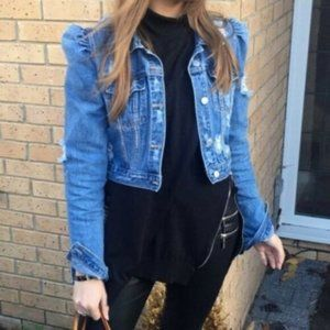 ZARA PUFF SLEEVES DISTRESSED RIPPED DENIM JACKET